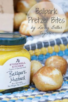 Ballpark Pretzel Bites by Living Better Together. The perfect snack for the big game. Buttery and salty soft pretzels bites dipped in zesty mustard, or make them sweet with cinnamon sugar and icing or caramel. So quick and easy to make, a great alternative for those of us who have bad luck with homemade dough.