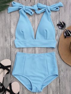 SHARE & Get it FREE | Tied Plunging Neck High Waisted Bikini - AzureFor Fashion Lovers only:80,000+ Items • New Arrivals Daily Join Zaful: Get YOUR $50 NOW!
