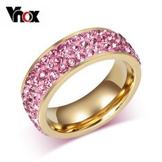 Gold Plated Stainless Steel 3 Rowl Cubic Zircona Ring