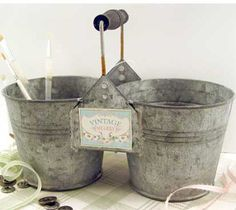 Vintage Shabby Double Flower Pot :: Flower Pots and Watering Cans :: Garden :: For the Home :: Elizabeth's Embellishments