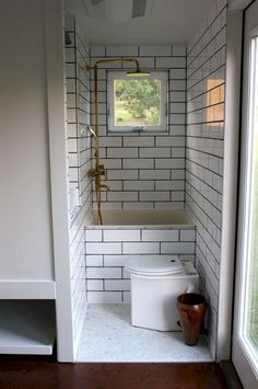 tiny house bathroom * tiny house _ tiny house plans _ tiny house design _ tiny house living _ tiny house ideas _ tiny house bathroom _ tiny house on wheels _ tiny house interior Best Tiny House, Modern Tiny House, Tiny House Living, Tiny House Plans, Tiny House Design, Tiny House On Wheels, Living Room, Tiny House Kitchens, Tiny Guest House