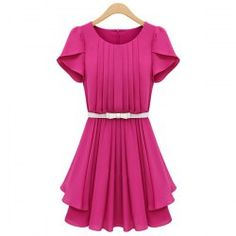 Elegant Women's Scoop Neck Solid Color Short Sleeve Pleated Chiffon Dress