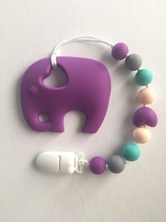Items similar to Elephant Silicone Teething Toy Clip / Pacifier Clip / Toy Strap / Teething Toy / Safari Theme / Baby Shower Gift / Chew Beads / Chewlery on Etsy Teething Beads, Teething Necklace, Baby Necklace, Diy Bebe, Baby Bling, Newborn Toys, Pacifier Holder, Unique Baby Gifts, Baby Teethers