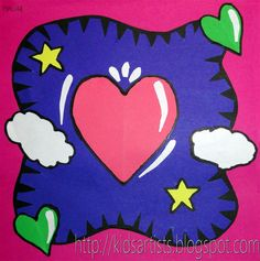 In the style of Burton Morris - Kids Artists: Valentine's day