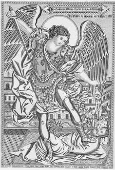Holy Archangel Michael Torments the Soul of the Rich Man, engraving, Monastery of Simonopetra on Mt. Athos in Greece, 1858