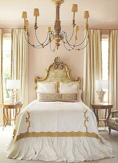 Love the elegance and look of this bedroom . I would just prefer a much wider and grander headboard and bed that look exactly the same . So beautiful.