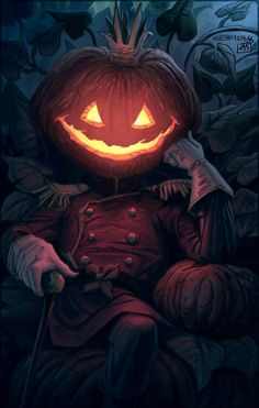 PumpkinKing from warlockss. on - I Love Halloween - . Halloween Artwork, Halloween Painting, Creepy Halloween, Halloween Pictures, Halloween Horror, Vintage Halloween, Halloween 2019, Halloween Night, Arte Horror