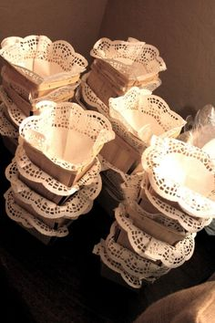 strawberry baskets lined with doilies