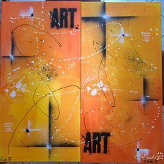 Street Art Simple - Dimension toile : - 2 Chassis : Hauteur 100 x Largeur 50  Descriptif de l'œuvre : Tableau réalisé à la peinture acrylique, à la bombe et avec du modeling past mortier. Le tableau peut etre reproduit selon la dimension de votre choix. Me contacter par Message privé celine-farnier.wix.com/enola69