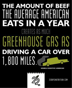 The amount of beef the average American eats in a year  creates as much greenhouse gas as driving a car over 1800 miles.