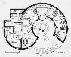 Cini Boeri: Plan of Villa La Rotonda, La Maddalena Cob House Plans, Round House Plans, House Floor Plans, Architecture Concept Drawings, Architecture Plan, Plan Design, Home Design Plans, Environmental Architecture, Circle House