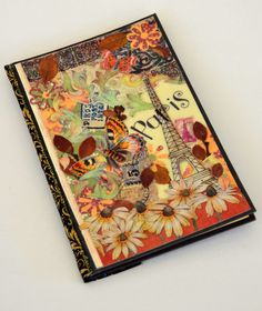 travel journal- Paris in Bloom -France, travel sketchbook, vacation journal, travel diary, Eiffel tower, memory book, travel scrapbook