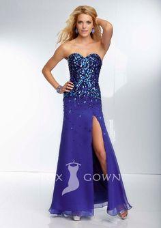 chiffon strapless beaded bodice sweetheart long split royal blue prom dress