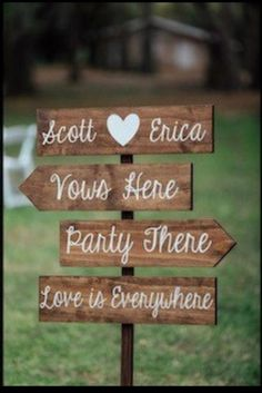 Wedding Reception Signs, Rustic Wedding Signs, Wedding Signage, Wedding Ideas, Outdoor Wedding Signs, Wedding Receptions, Backyard Wedding Decorations, Cheap Backyard Wedding, Pallet Wedding