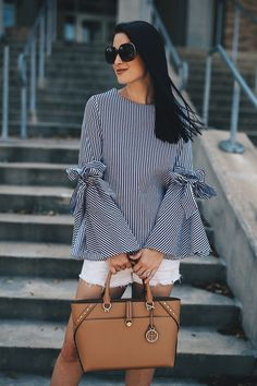 White and Blue Bell-Sleeved Top for Summer - Dressed to Kill