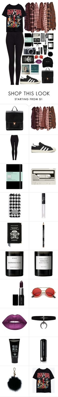 """Untitled #593"" by jojomix ❤ liked on Polyvore featuring Hstyle, Topshop, adidas, Moleskine, CASSETTE, MICHAEL Michael Kors, NARS Cosmetics, Aspinal of London, Byredo and Lord & Berry"