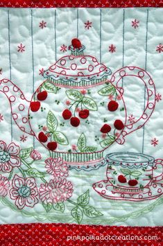 #Embroidered Cherry Table #quilt...too cute #Cherries
