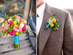 blue ribbon on bright bouquet + billy ball boutonniere