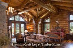 Handcrafted Log Home Bedroom | PrecisionCraft Log Homes by PrecisionCraft Log Homes & Timber Frame, via Flickr