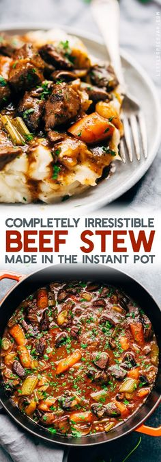 Irresistible Instant Pot Beef Stew - This recipe is a quick dump and go method that makes homemade beef stew in the ballpark of 45 minutes. Serve over a bed of mashed potatoes or with hot crusty bread. #beefstew #instapotbeefstew #beefstewrecipe | Littlespicejar.com