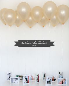 Grad Party Ideas You'll Want To Steal Immediately Tie photos to balloons for a super festive alternative to a photo wall.Tie photos to balloons for a super festive alternative to a photo wall. Balloon Chandelier, Diy Chandelier, Chandelier Wedding, Grad Parties, Birthday Parties, 30th Birthday, Birthday Celebration, Birthday Ideas, Party Deco