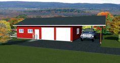 Garage Plan 90993, Order Code PT101   Plan with 550 Sq. Ft., 1 Bathrooms, 3 Car Garage