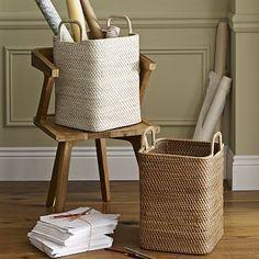 "Modern Weave Handled Baskets #westelm $55 12.5"" sq. x 19.25"" h"