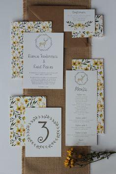 Rustic floral wedding invitation / Invitatii de nunta Papira
