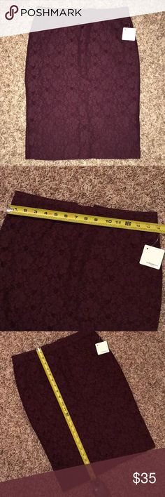 HALOGEN Burgundy Lace Pencil Skirt Halogen brand lace pencil skirt! Brand new, with tags! Halogen Skirts Pencil