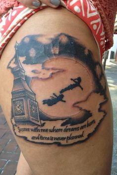 What does peter pan tattoo mean? We have peter pan tattoo ideas, designs, symbolism and we explain the meaning behind the tattoo. Dream Tattoos, Future Tattoos, Love Tattoos, Unique Tattoos, New Tattoos, Tattoos For Guys, Star Tattoos, Temporary Tattoos, Piercings