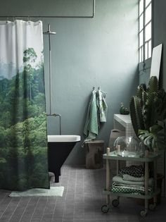 Jungle Bathroom Inspiration - A kid's shower curtain can be quite confusing to choose on account of the huge assortment of colours and patterns that shower curtain manufacturers ha. by Joey Bathroom Inspiration, Interior Inspiration, Jungle Bathroom, Hm Home, Green Rooms, Green Walls, Bathroom Colors, Bathroom Ideas, Bathroom Remodeling
