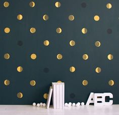 I never thought I could be this in love with a wallpaper (lie).  The moon phases on a prussian blue backdrop look like sparkling gold discs from afar.  I can imagine this in a powder room, a bedroom accent wall...and most cutely: a boy's nursery room.