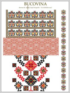 IA AIDOMA 020 - Bucovina, ROMANIA Folk Embroidery, Cross Stitch Embroidery, Embroidery Patterns, Sewing Patterns, Folk Clothing, Embroidery Techniques, Textile Patterns, Pixel Art, Cross Stitch Patterns