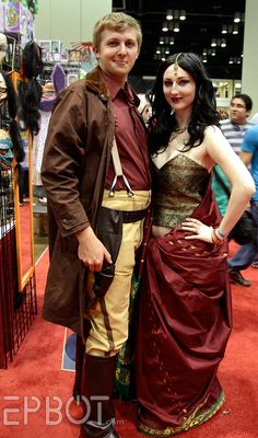 Firefly - demonstrating how to blend the past with the future.  The western era and wild mix of cultures are appropriate for a steampunk airship crew, but this is in no way intentional, and not a direct example.  An awesome cosplay pair from epbot's pics