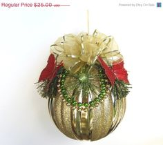 CIJ SALE Gold Christmas Ball Ornament 6 Inch by IllusionCreations