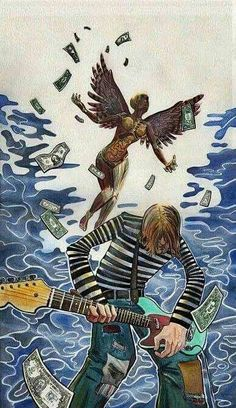 Money equals death to some; especially with actual demons around them. Kurt Cobain Art, Nirvana Kurt Cobain, Nirvana Songs, Nirvana Art, Arte Grunge, Rock Band Posters, Dark Drawings, Music Images, Dave Grohl