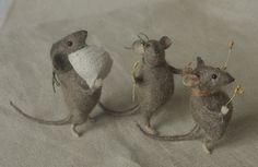 Hardworking Needle Felted Mice
