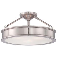 Home Decorators Collection 3-Light Brushed Nickel Semi-Flush Mount with Clear Outside/Frosted Inside Glass-23955 - The Home Depot