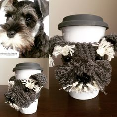 Crochet Schnauzer Pattern, Crochet Pattern Mug Cozy, Cup Cozy Pattern, Crochet Dog Pattern, Crochet Coffee Sleeve Pattern