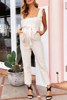 The fashion ruffled square collar sling tied belt jumpsuit with sleeveless is a good choice of fashion and you will love it in summer. Maternity Jumpsuit, Jumpsuit Dressy, Jumpsuit Outfit, Maternity Dresses, Elegant Jumpsuit, Summer Jumpsuit, Maternity Clothing, Elegant Dresses Classy, Classy Dress