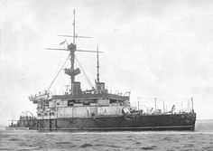"HMS Trafalgar 1887. Together with her sister ship HMS Nile, these capital ships carried 2 twin 13.5"" BL guns."
