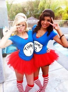 Homemade Thing 1 and Thing 2 Costume. You could also have a Cat in the Hat