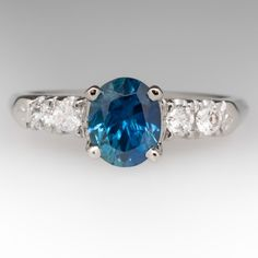 Blue-Green Montana Sapphire & Diamond Vintage 14K Ring
