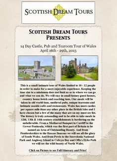 A Taste Of Wales with Castle, Pubs, Country Houses and Tearooms April 16th - 29th, 2015