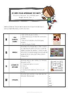 21 idées pour apprendre ses mots. A remettre aux parents en début d'année scolaire