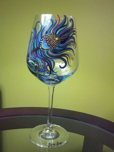 Hand Painted Wine Glass Original Peacock Feather by ChelsiLees, $35.00  I NEED this.