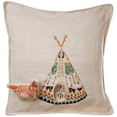 This Coral and Tusk plains fox pocket pillow has a little fox that goes in and out of his teepee. I need him like yesterday.