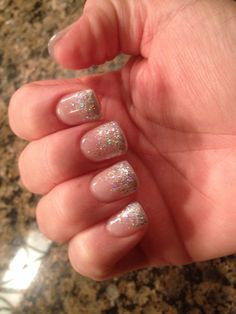 Glitter gel acrylic nails