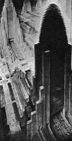 Philosophy from The Metropolis of Tomorrow. Aerial view of an imaginary city (1930). Hugh Ferriss