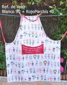 Referencia de Color: Blanco 90 + RojoParchís 40 Delantales personalizados con los dibujos de tus niños. www.mrbroc.com